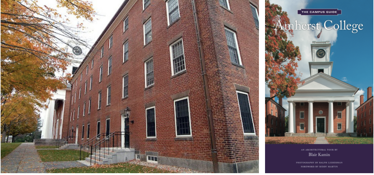 Photo of the exterior of South College and the cover image for Amherst College The Campus Guide