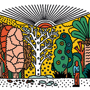 An illustration of a large book decorated with trees