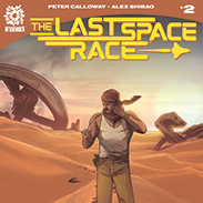 """A book cover titled """"The Last Space Race"""" with a man in the desert"""