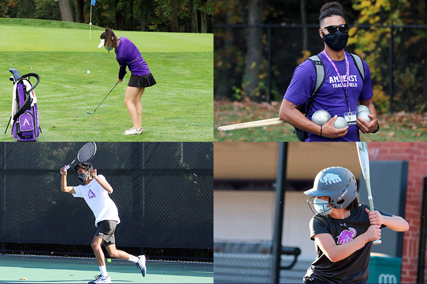 Amherst athletes competing in golf, track and field, tennis, and softball
