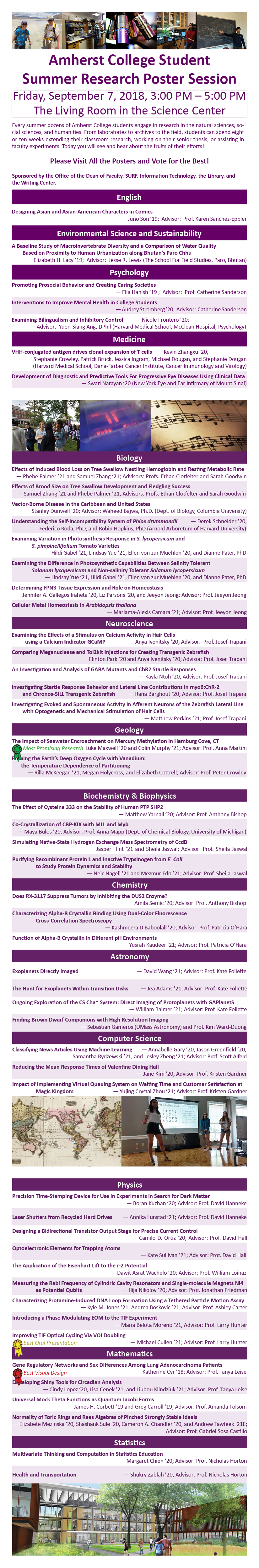 A list of the posters at the 2018 Summer Research Poster Session