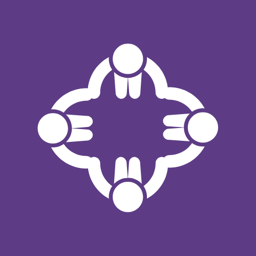 A logo of four people holding hands in a circle