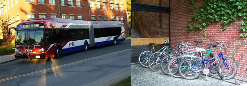 A PVTA bus and a row of bicycles