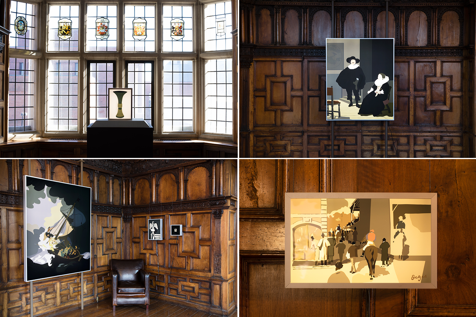 Kota Ezawa lightboxes on view in the Mead Art Museum's Rotherwas Room