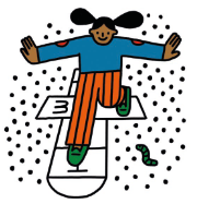 An illustration of a child playing hop scotch