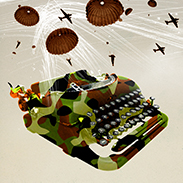 An illustration of a camouflaged typewriter surrounded by parachutes