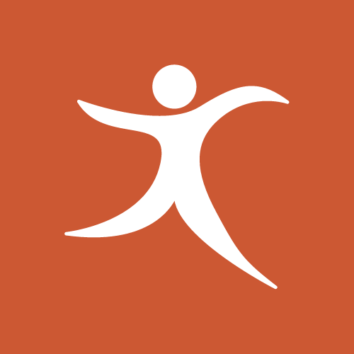 A logo of a person dancing with their arms stretched out