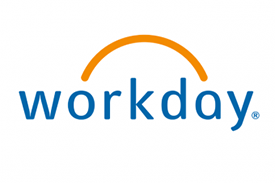 A logo saying Workday with a yellow arch above the word