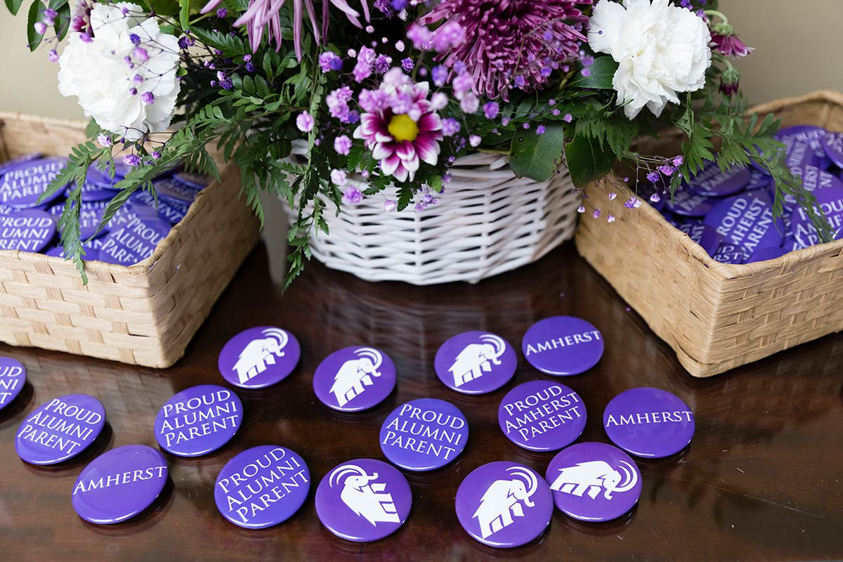 Baskets of purple mammoth buttons and flowers on a table