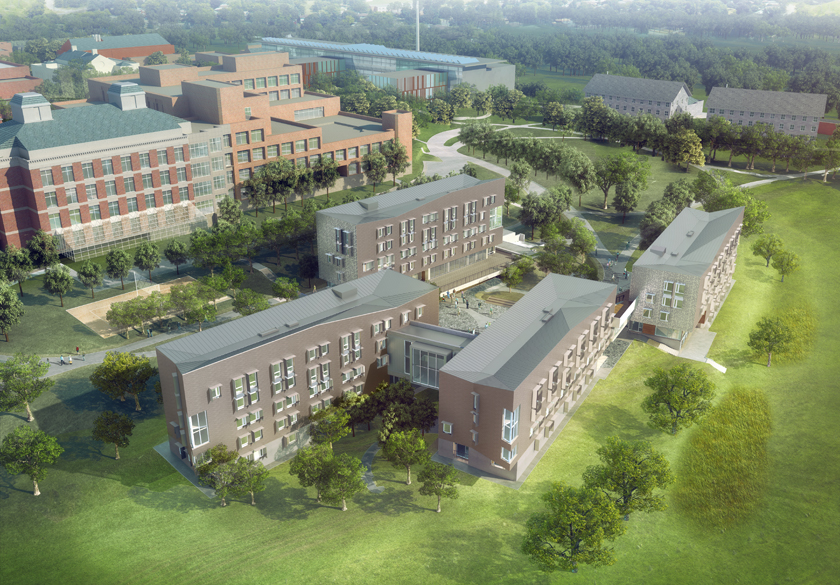 Greenway Dorms architectural aerial sketch
