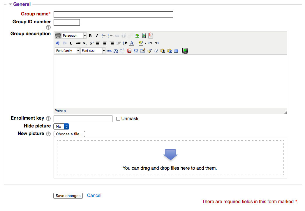 Group creation interface
