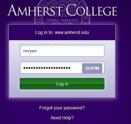 Web login screen, showing a hidden password and the Show button