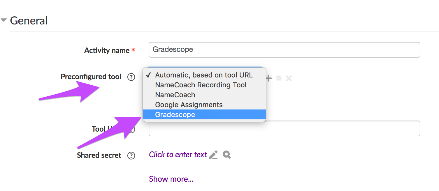 Dialog to add a Gradescope tool to Moodle