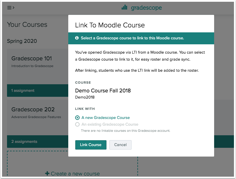 Dialog to link to a Gradescope course.