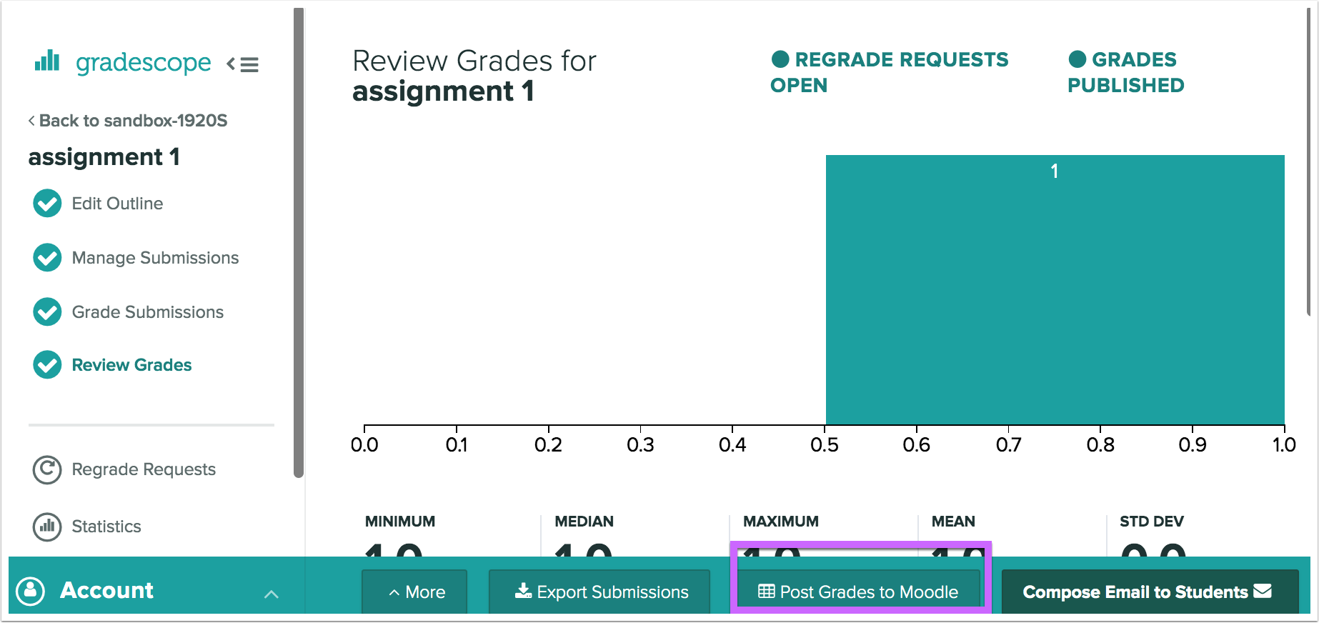 Dialog to publish Gradescope grades back to Moodle
