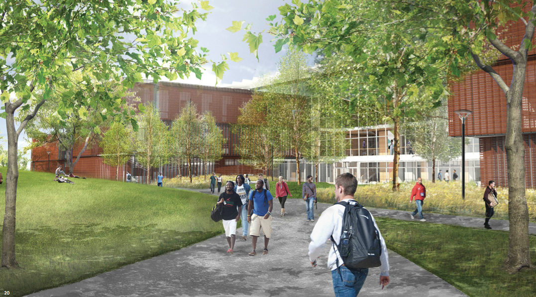 Architect's rendering of students walking on Greenway by Science Center