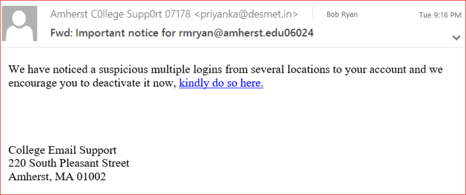 screenshot of may 22 phishing email