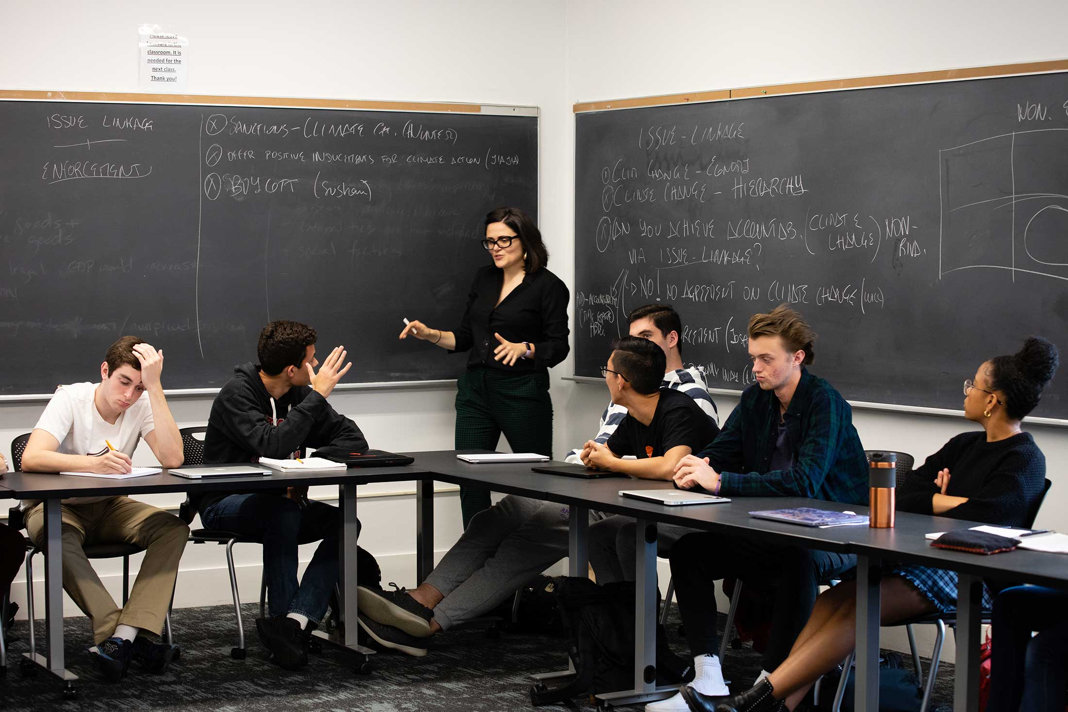 Eleonora Mattiacci's speaking to students in her Politics of Climate Change class