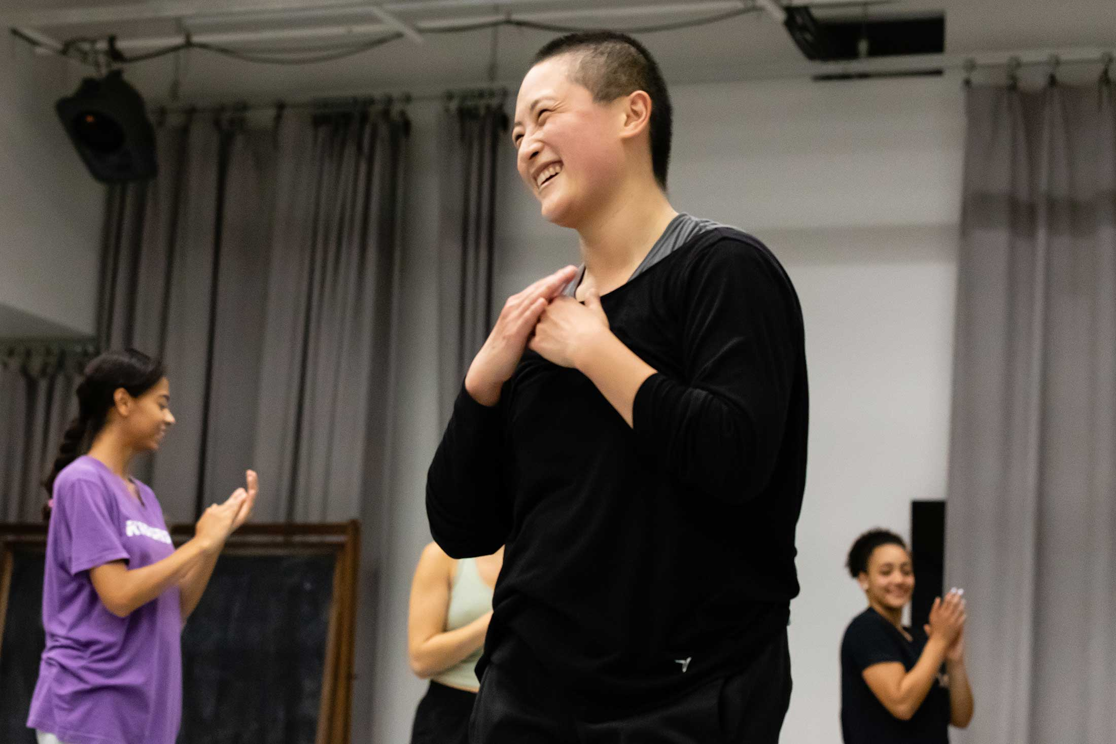 Guest artist Annie Wang leading a master class in contemporary dance