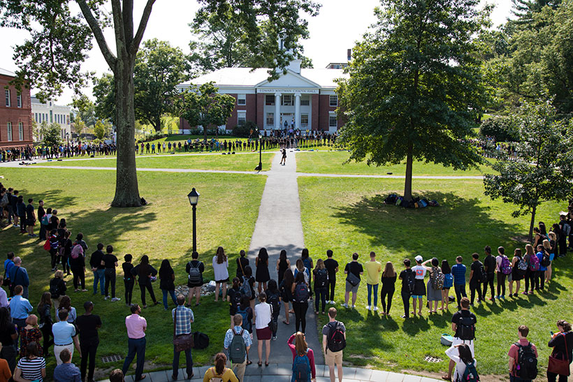 Students gather in solidarity on the Quad against hate