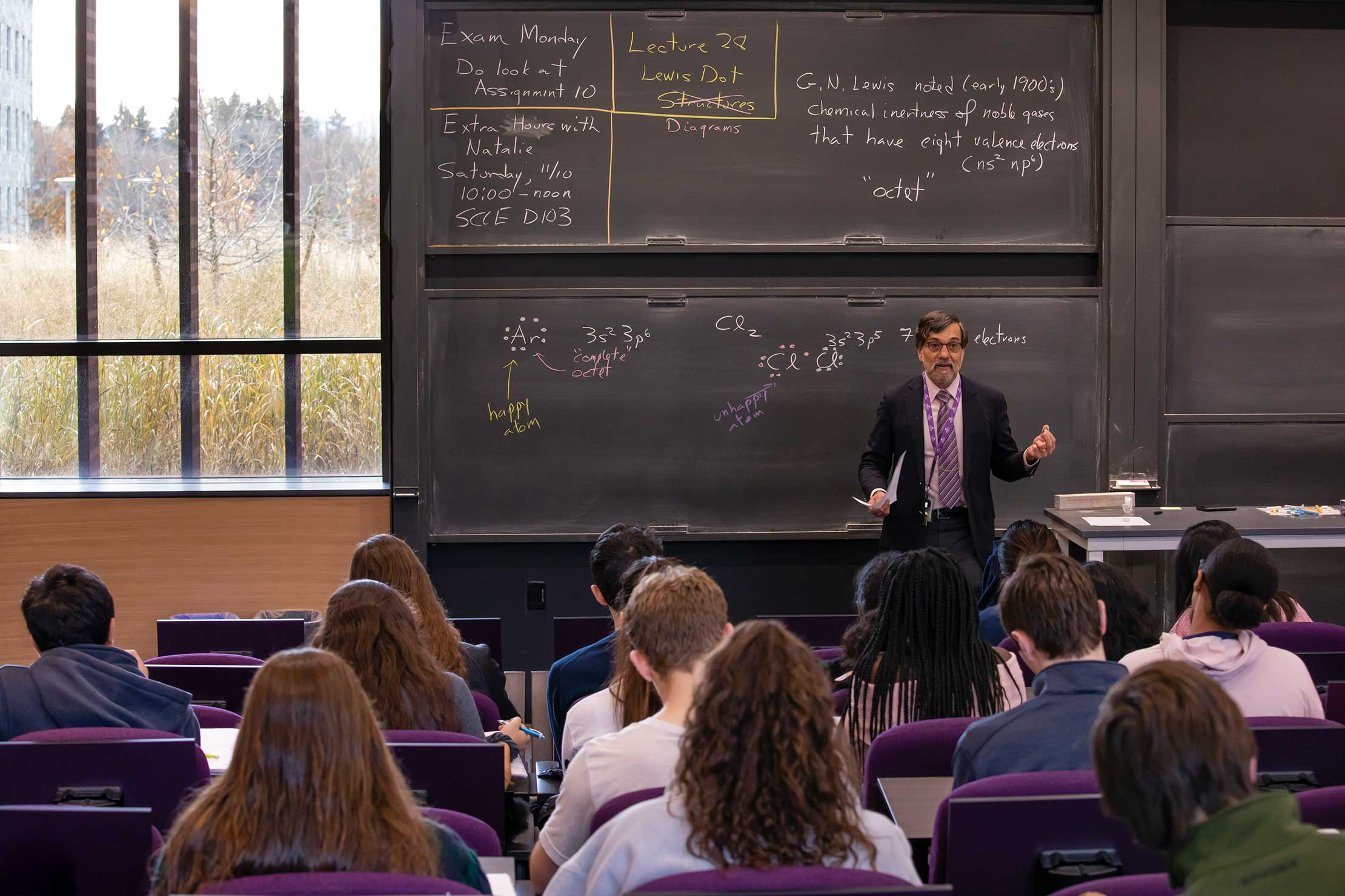 "Professor Mark Marshall's ""Introductory Chemistry"" class was open to Homecoming attendees."