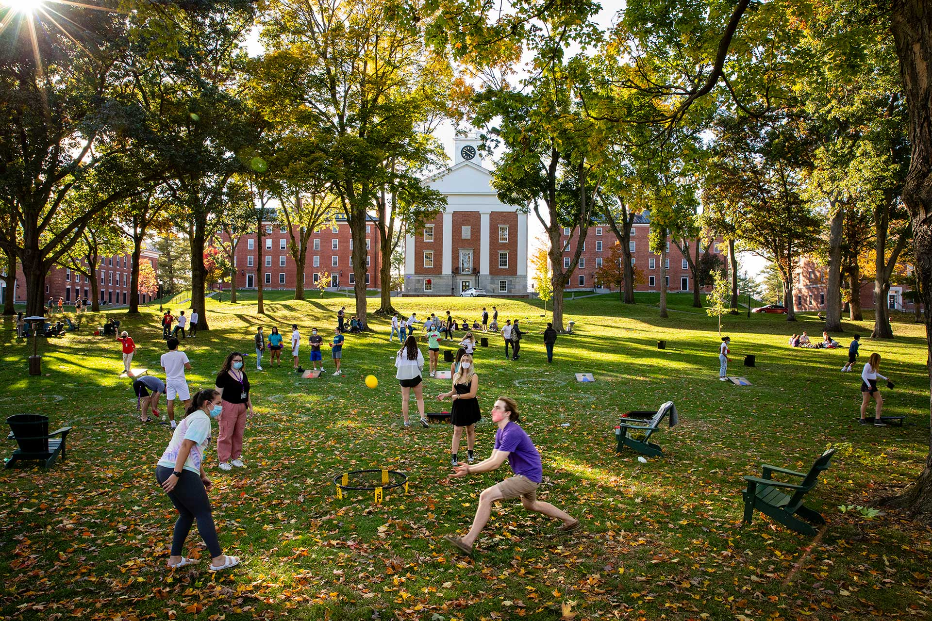 Students enjoying outdoor activities on the main quad of amherst college
