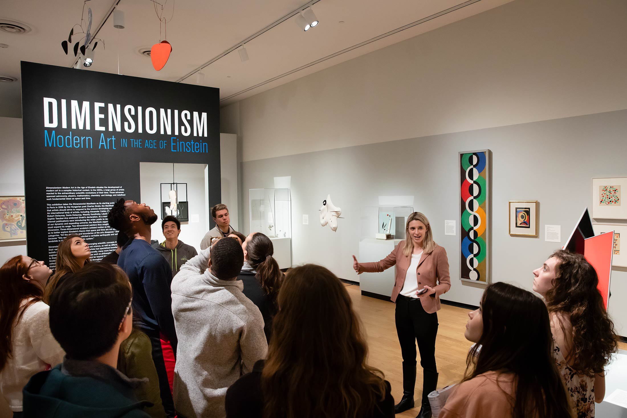 "Curator Vanja Malloy gives a guided tour of the ""Dimensionism"" show"