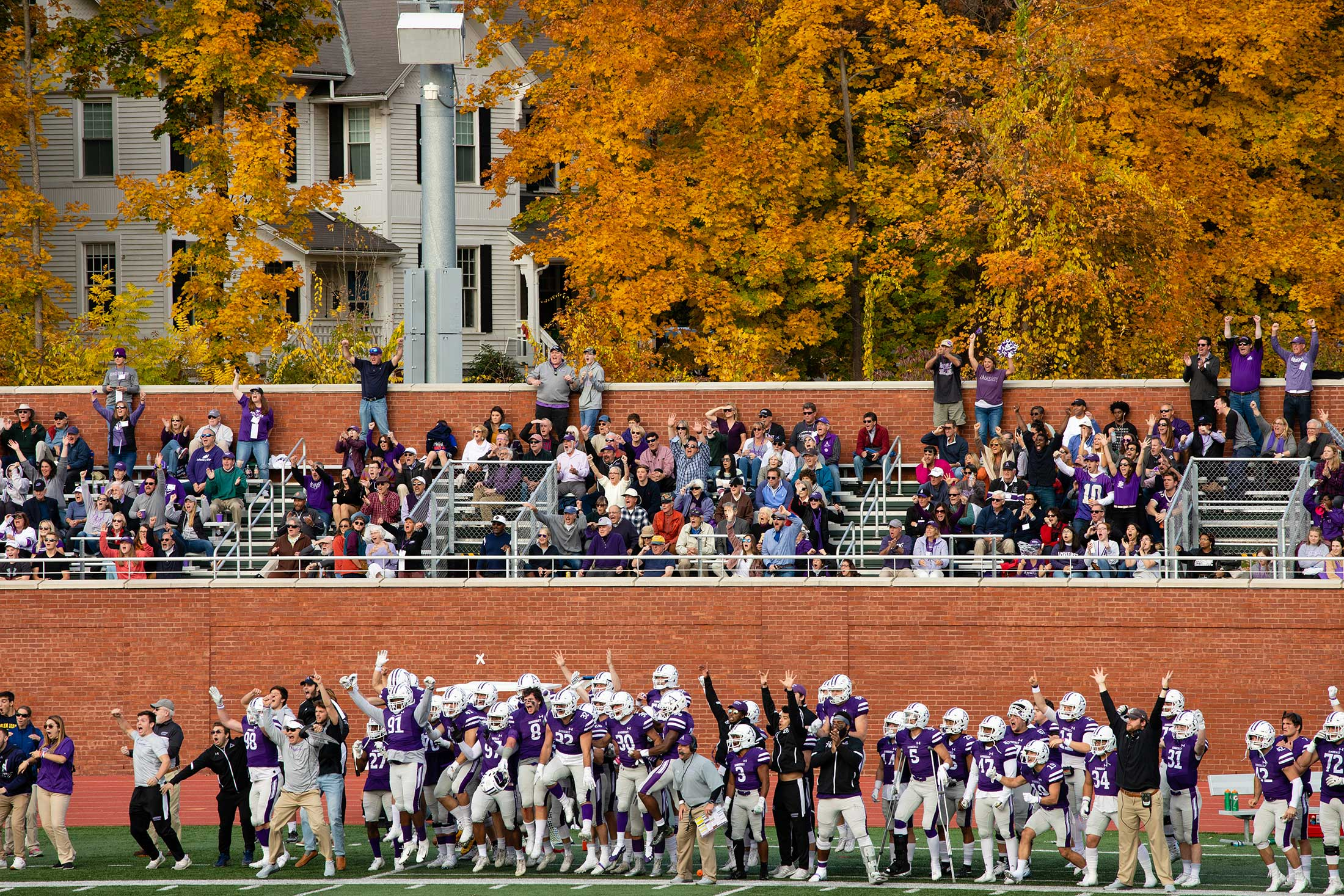 Amherst College football team and fans reacting to a play