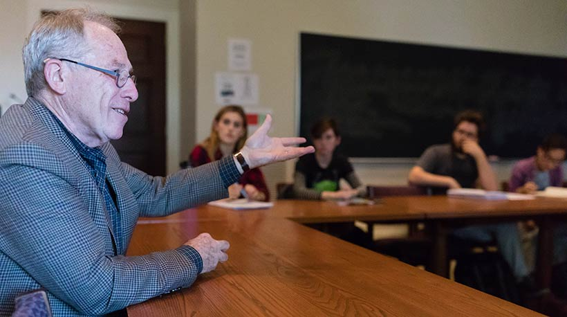 Thomas Laqueur speaking with Amherst College students
