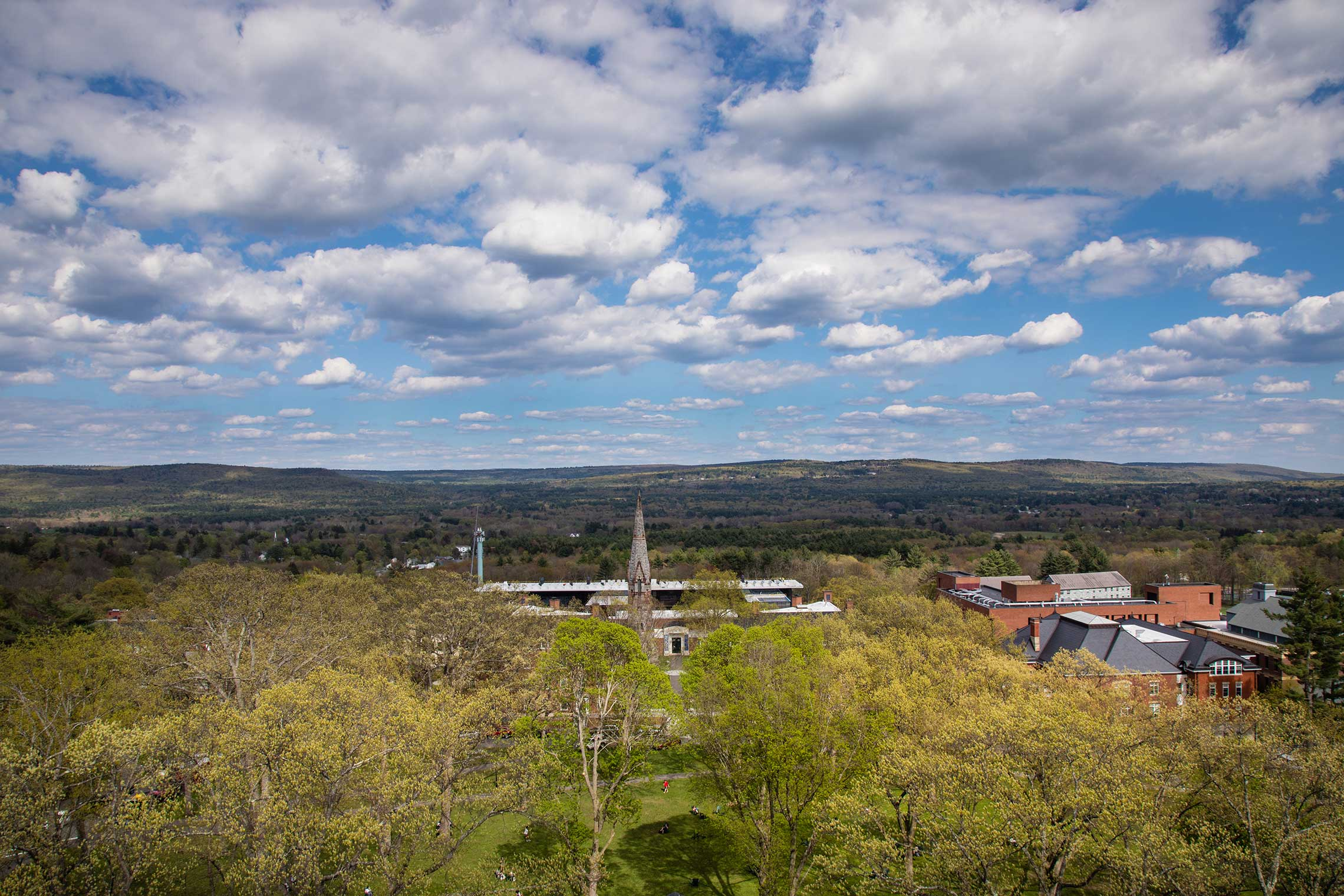Aerial view of campus in the spring