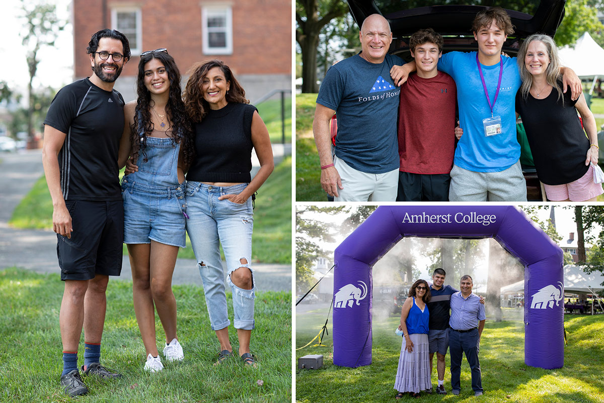 Families pose for photos during move-in day