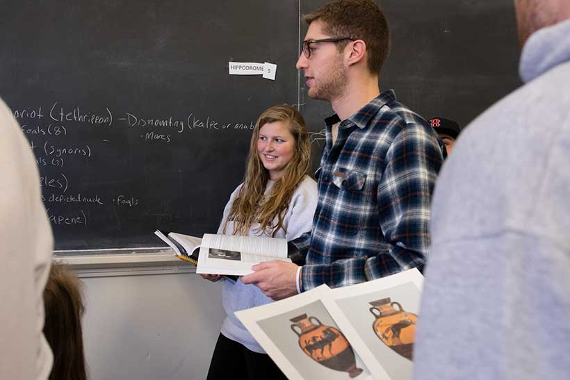 Students in Professor Olsen's Sport and Spectacle class