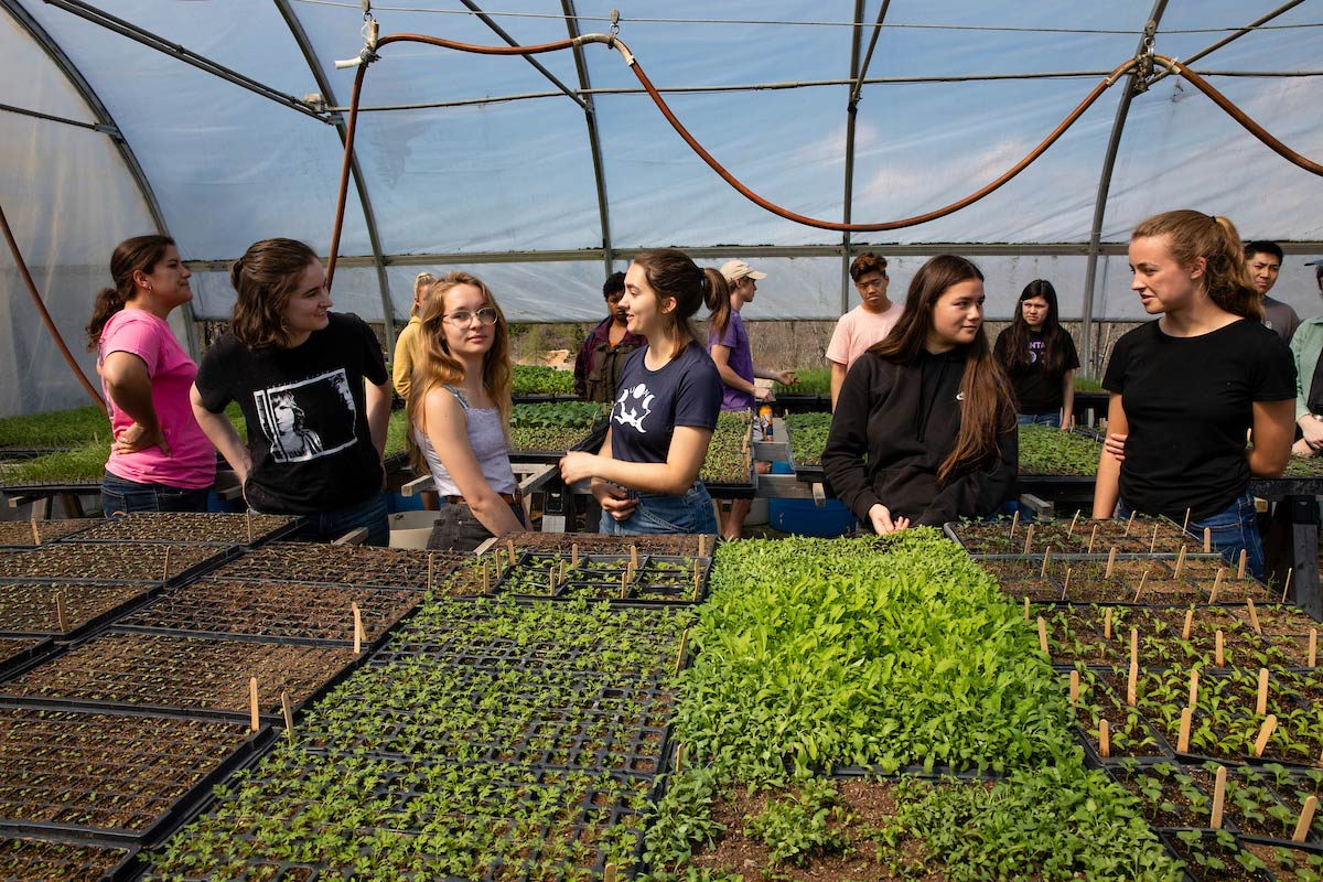 Students gathered inside the greenhouse