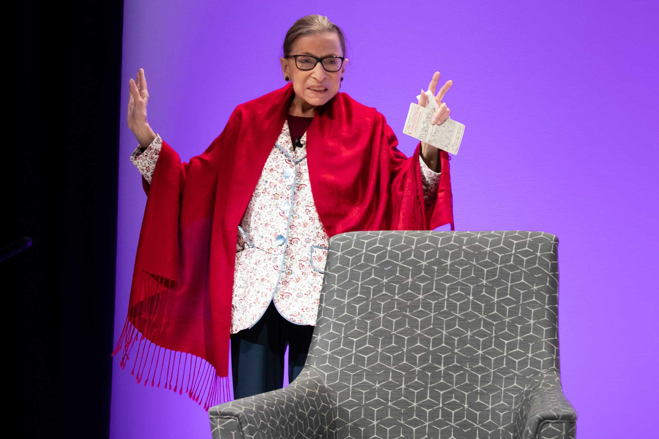 Justice Ruth Bader Ginsburg waving to the audience