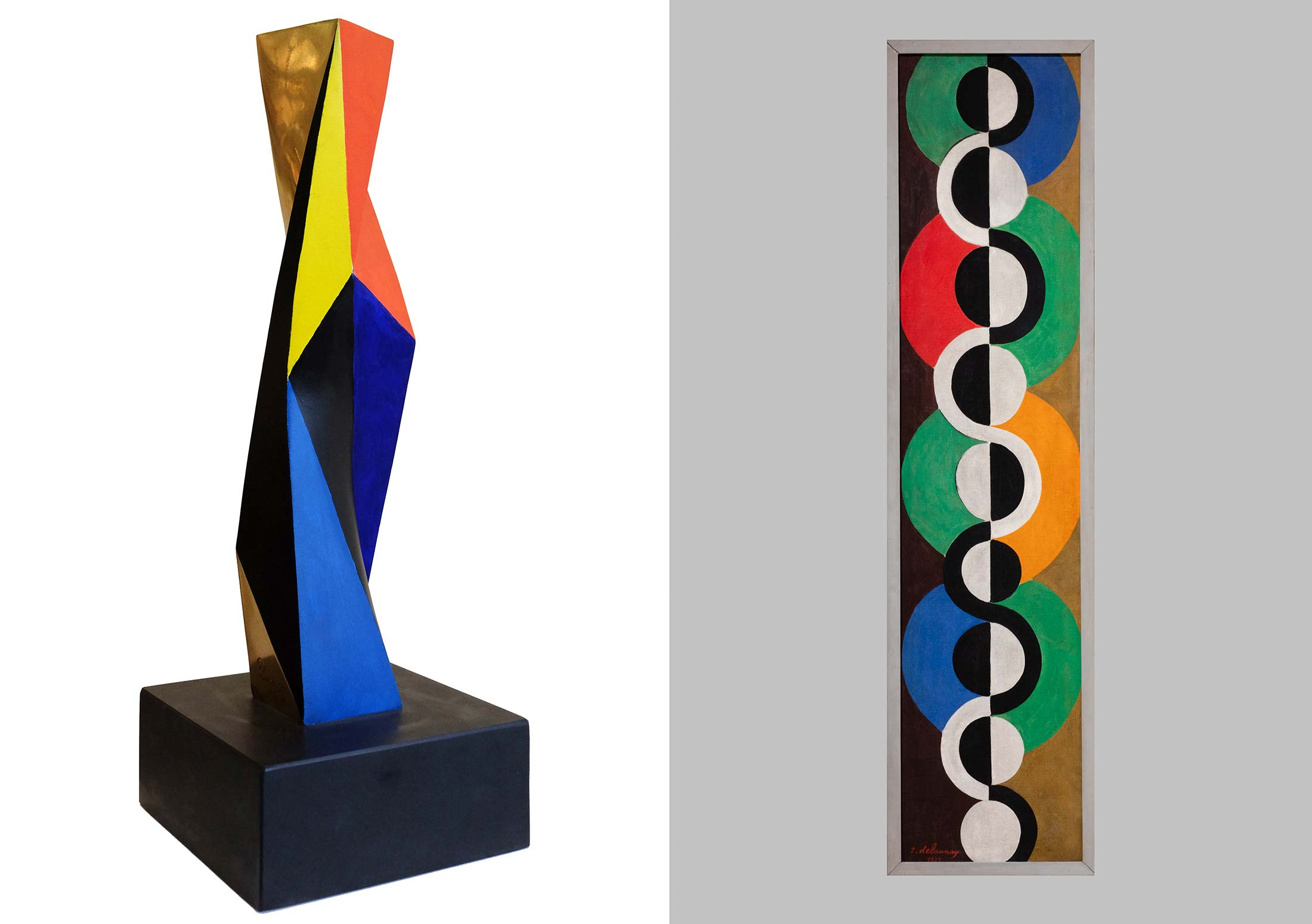 On the left: Colonne (1932) by Anton Prinner; on the right: Rhythm San Fin (1934)by Robert Delaunay