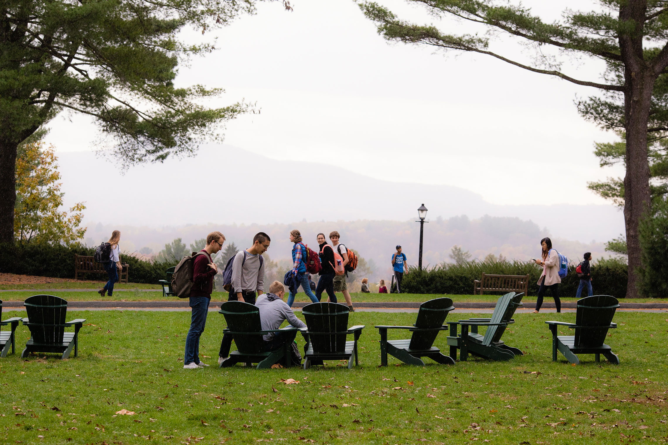 Students on the Academic Quad at Amherst College.