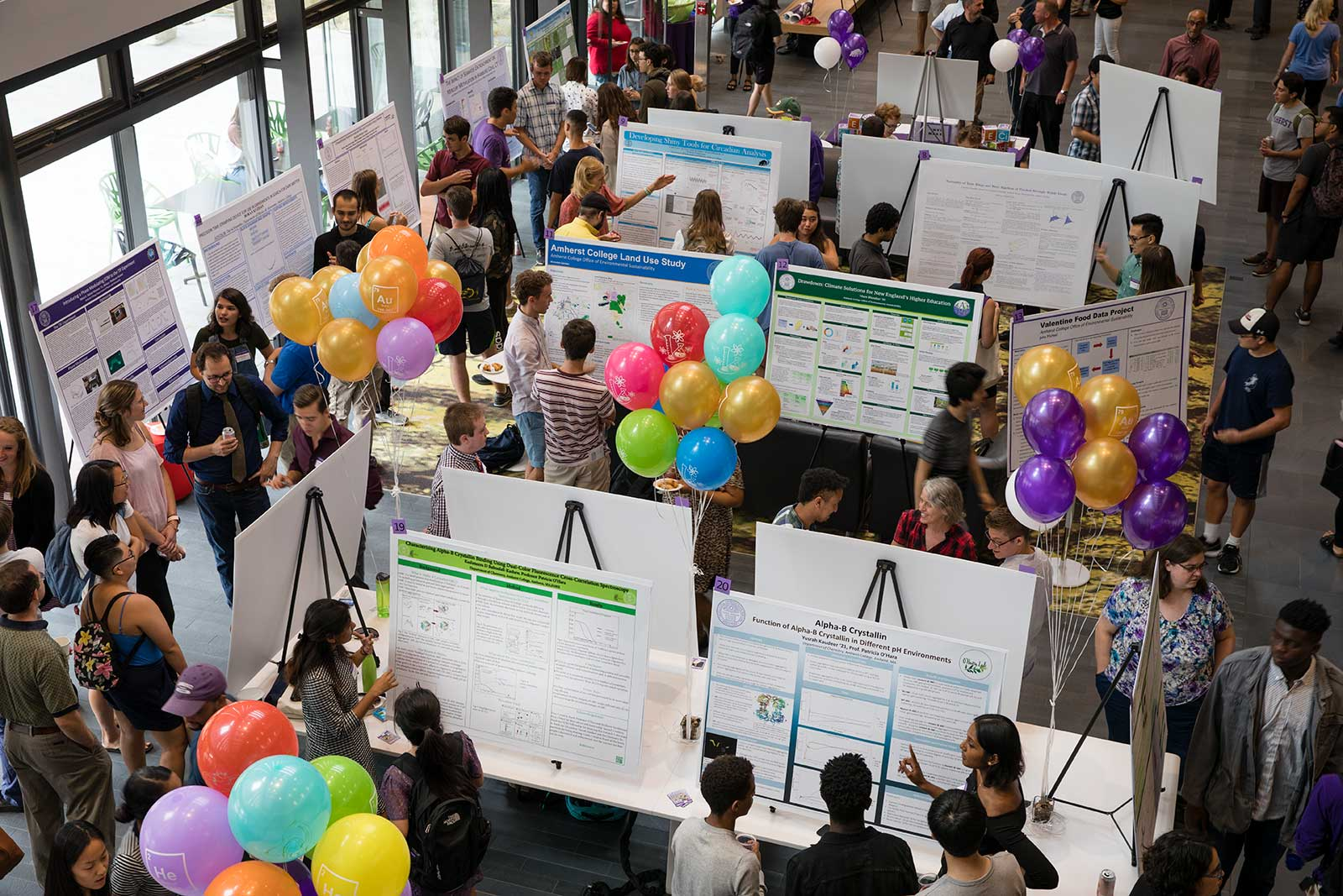 Overhead view of Summer Research Poster Session in Science Center, Amherst College