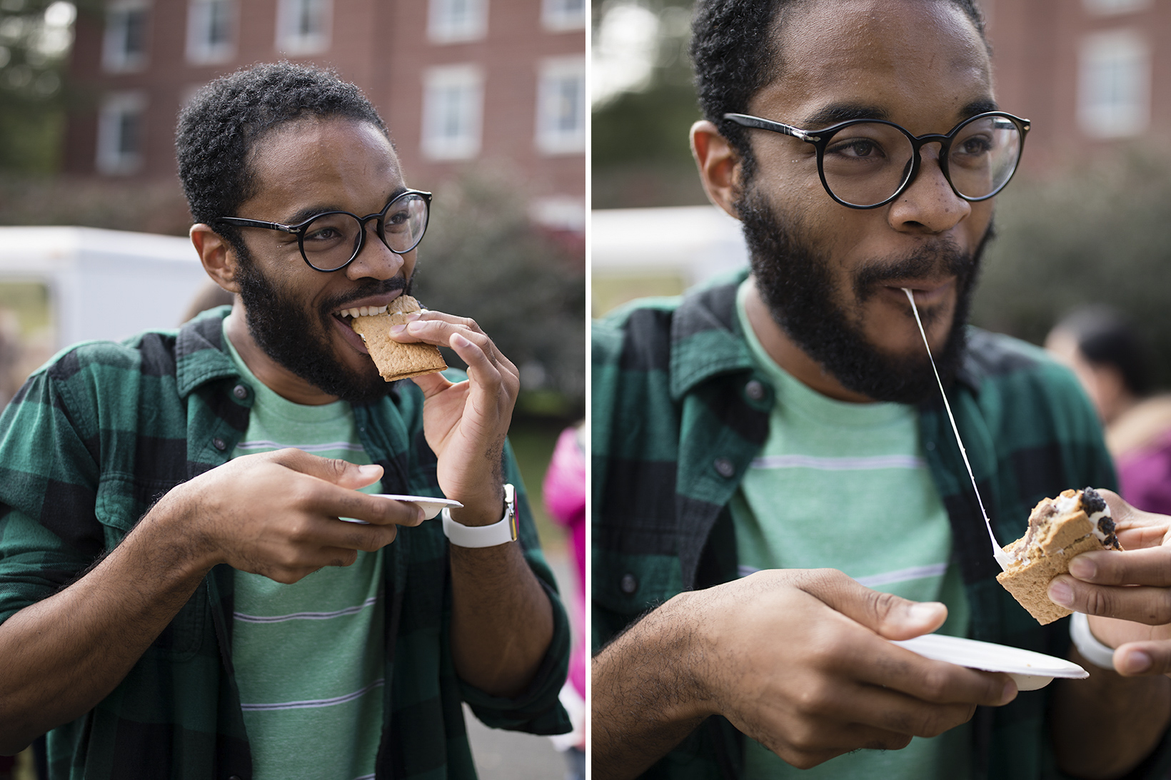 Stanley Dunwell '20 sampling the roasted marhmallows.