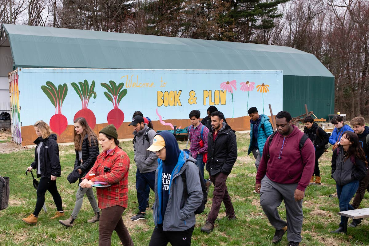 A professor and his student visit the Book & Plow Farm