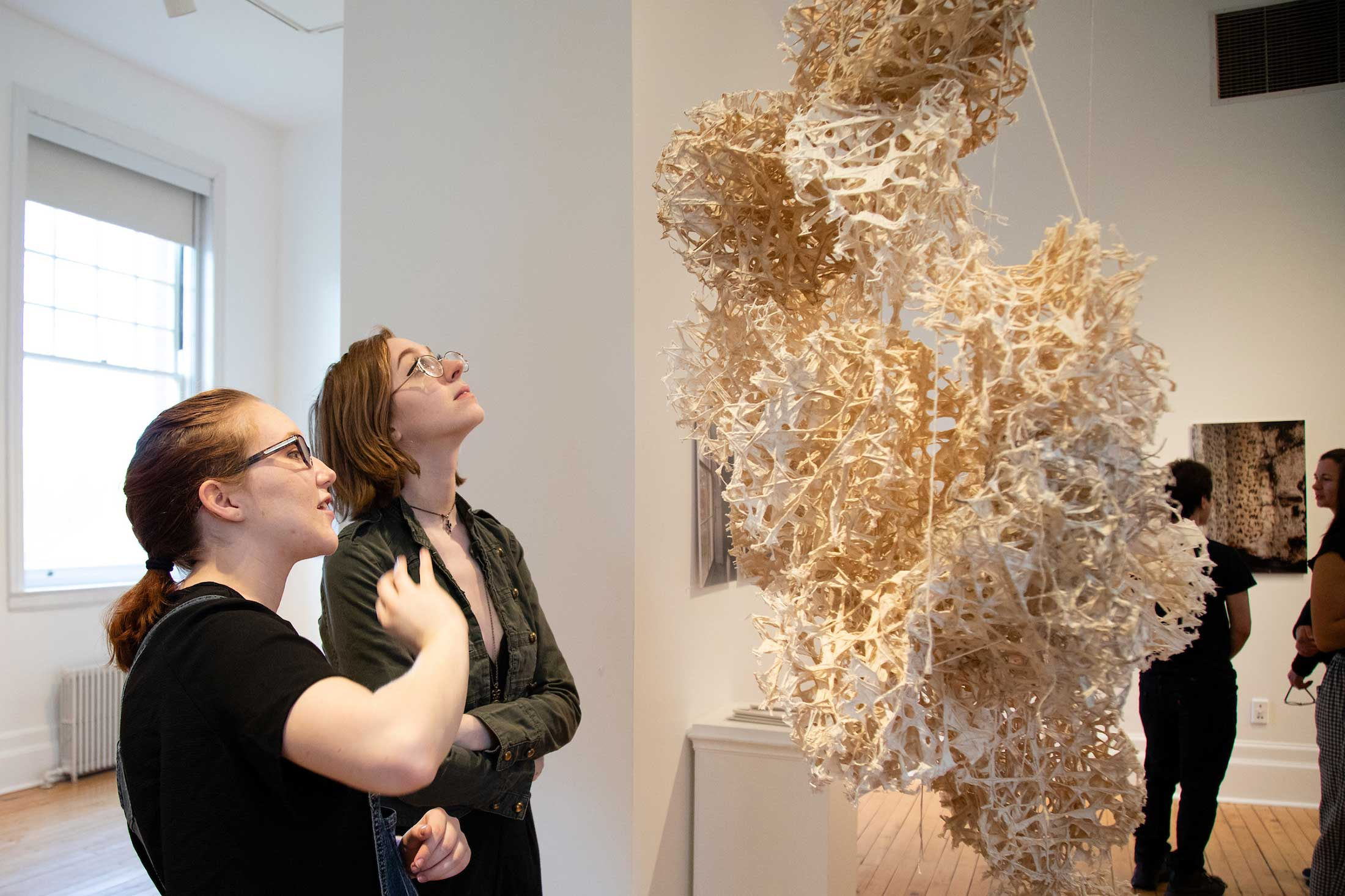 """Rhizome,"" by Mika Obayashi '19, made of kozo paper pulp, string."