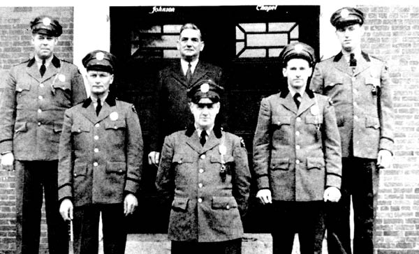 The 1943 Amherst College Police: Chief O'Brien (top center); Off. MacDonald Off. Babb Off. Kelly Off. Joy Off. Landry