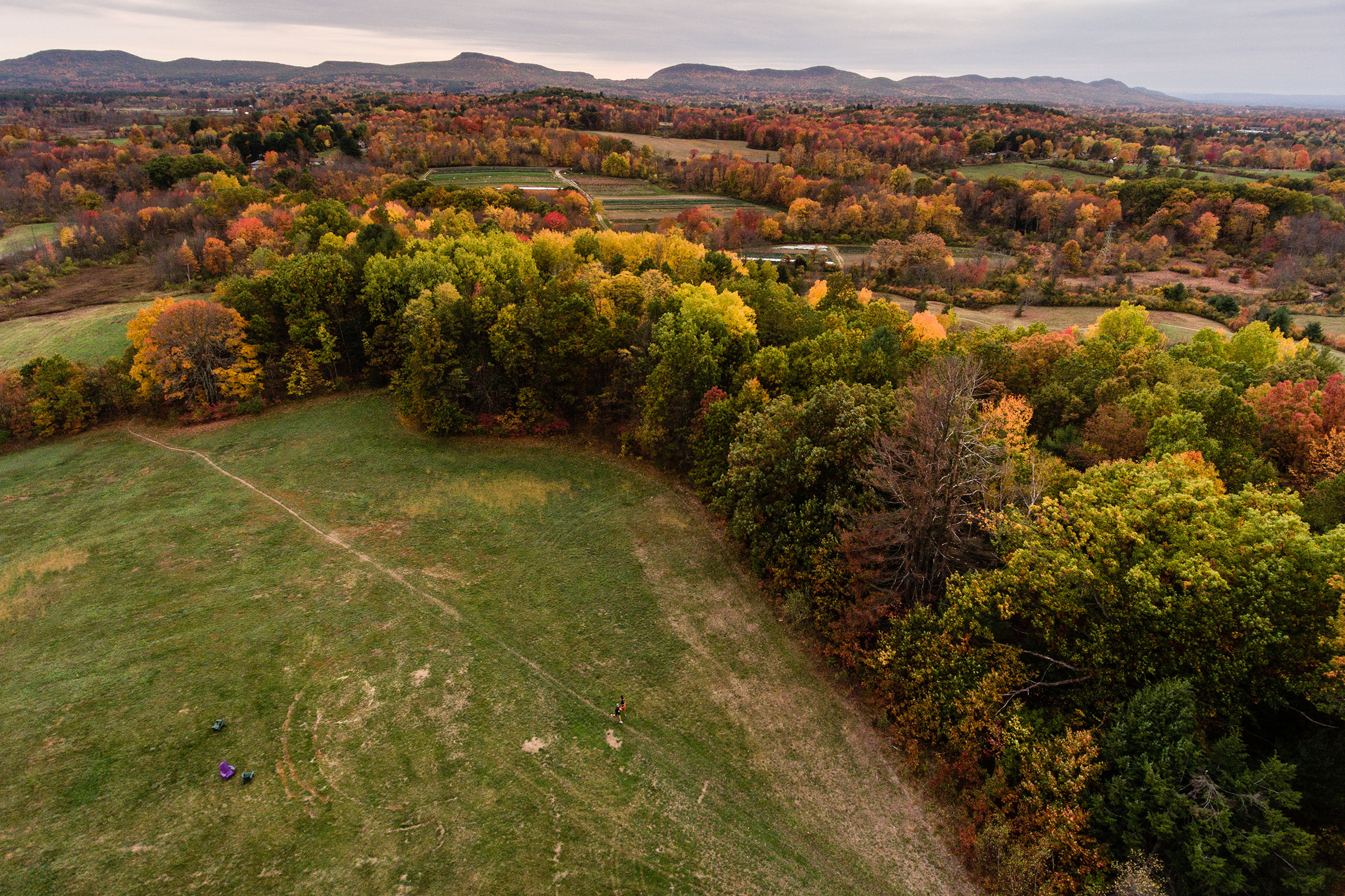 Aerial view of Amherst College surrounding land in autumn.