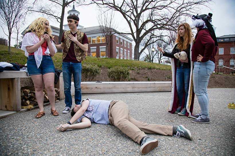 "A group of Amherst students played ""Telephone"" with Shakespeare"