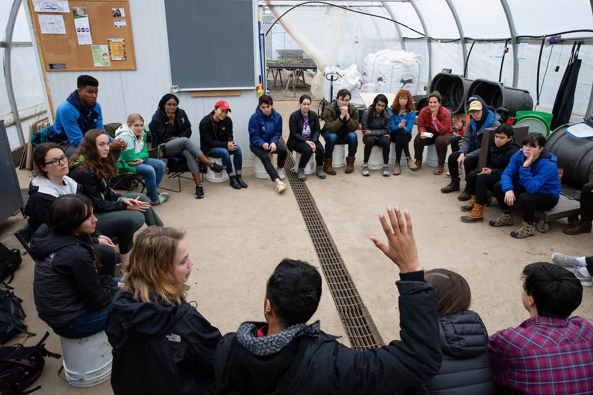 A class discussion in the farm's greenhouse