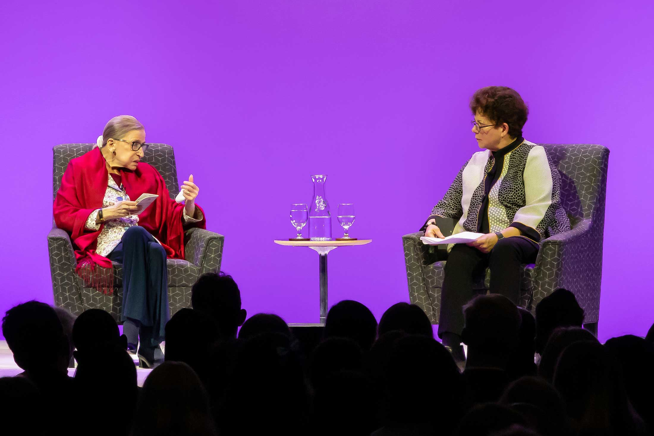Justice Ginsburg and President Biddy Martin engage ina . conversation on the stage in Coolidge Cage