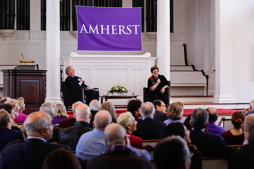 Board of Trustees Chair Cullen Murphy '74 and President Biddy Martin speaking in Johnson Chapel