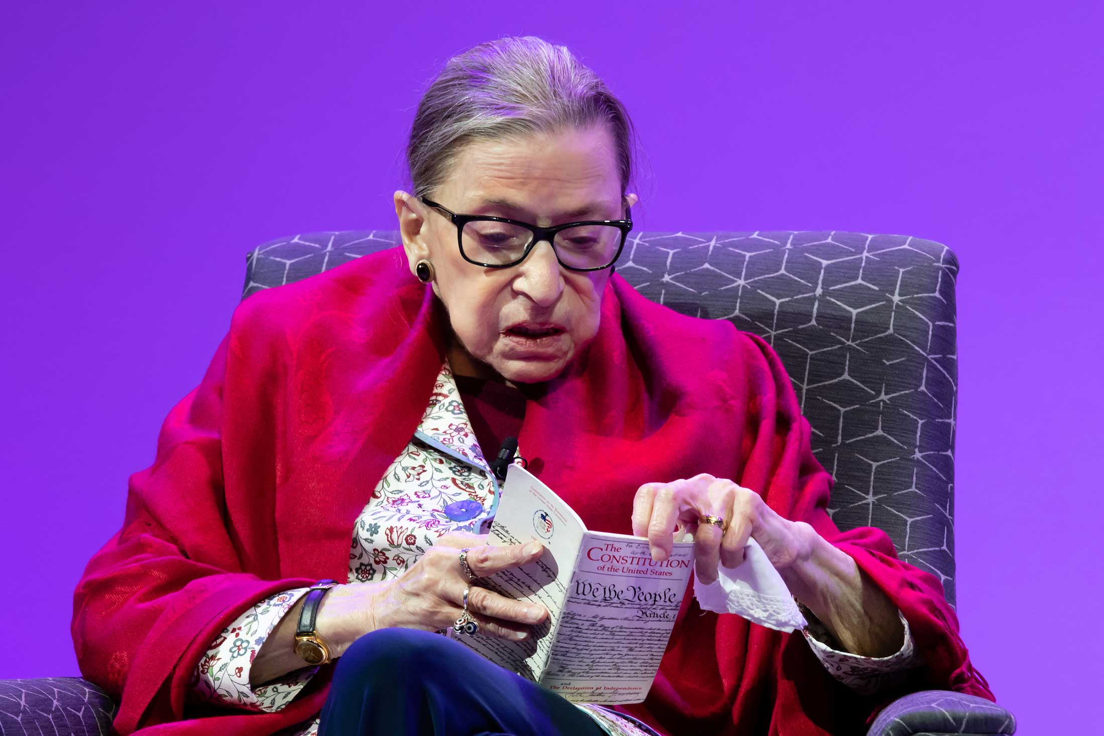 Justice Ginsburg reading from the Constitution