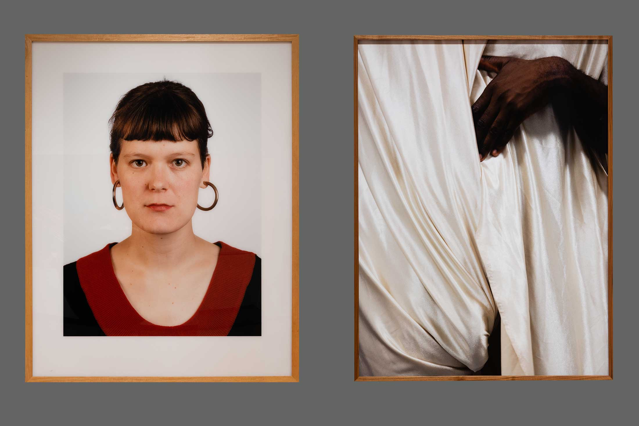 Left: Portrait (Elke Dende) by Thomas Ruff; Right: Draping by Paul Mpagi Sepuya