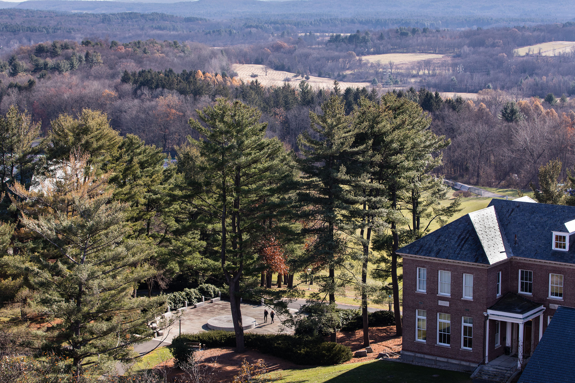 Aerial view of Amherst College campus in spring.