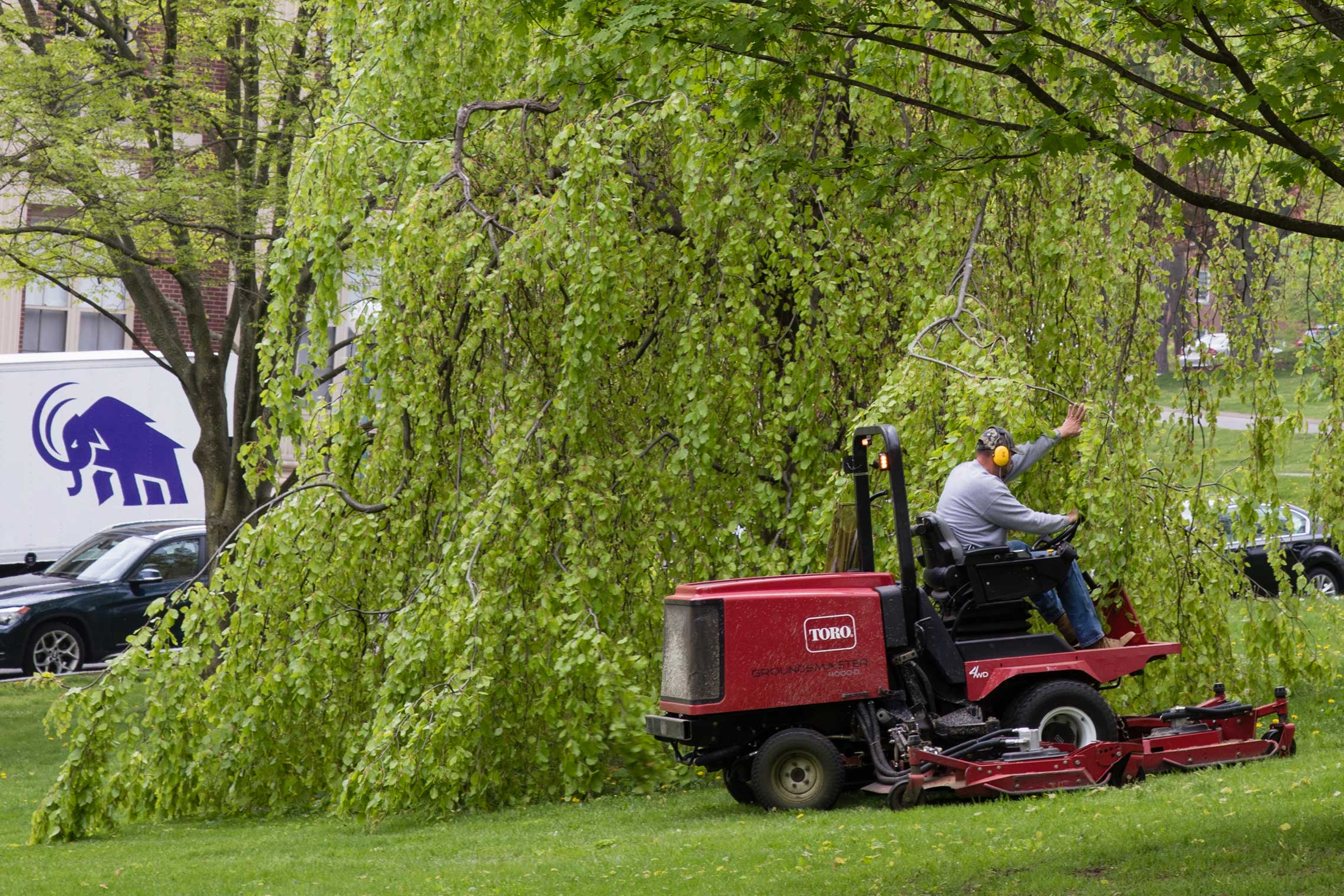 Mowing the grass on the Amherst College campus
